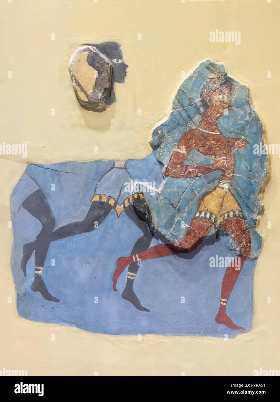 """Fragmentos de """"El capitán de los negros' fresco (1350-1300 a.C.), el Museo Arqueológico de Heraklion Heraklion (Irakleio), región Irakleio, Creta (Creta), Imagen De Stock"""