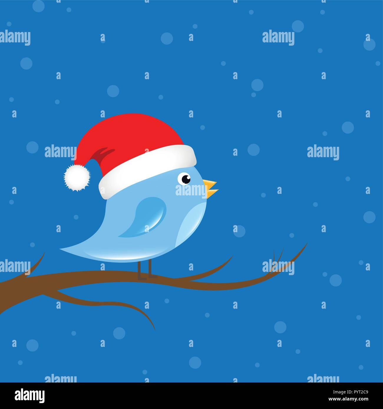 Little Bird con santa cap está sentado en una rama ilustración vectorial EPS10 Ilustración del Vector
