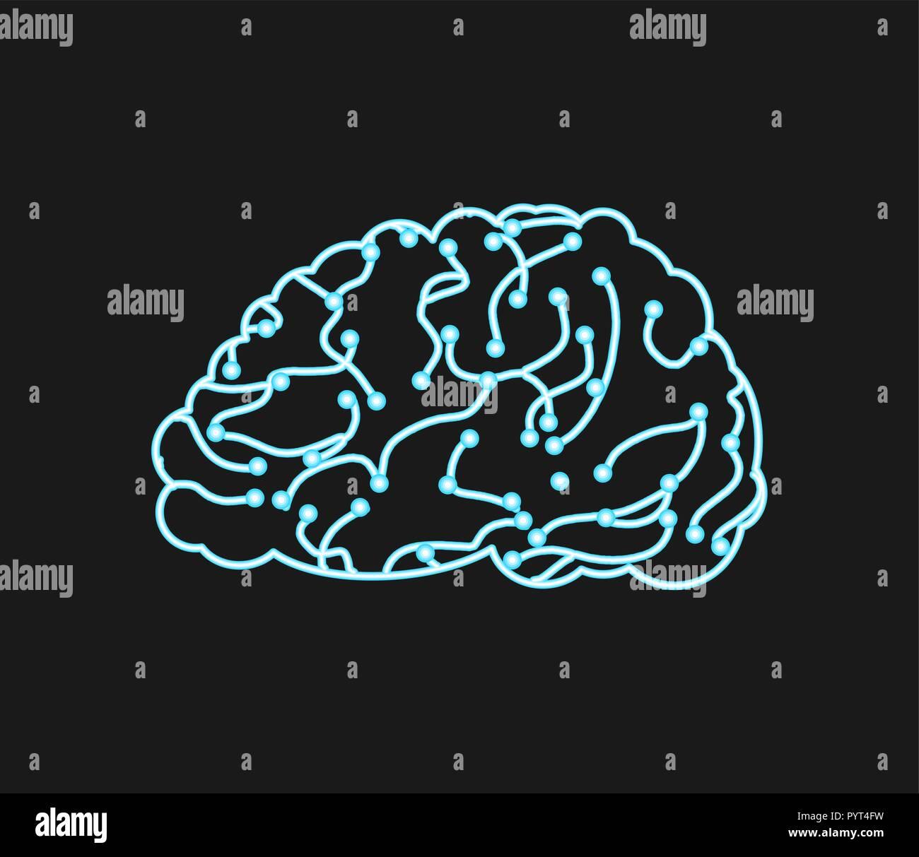 Cerebro virtual. Las neuronas y redes neuronales. digital pensado transferir tecnología. Concepto de ciencia ilustración vectorial Imagen De Stock