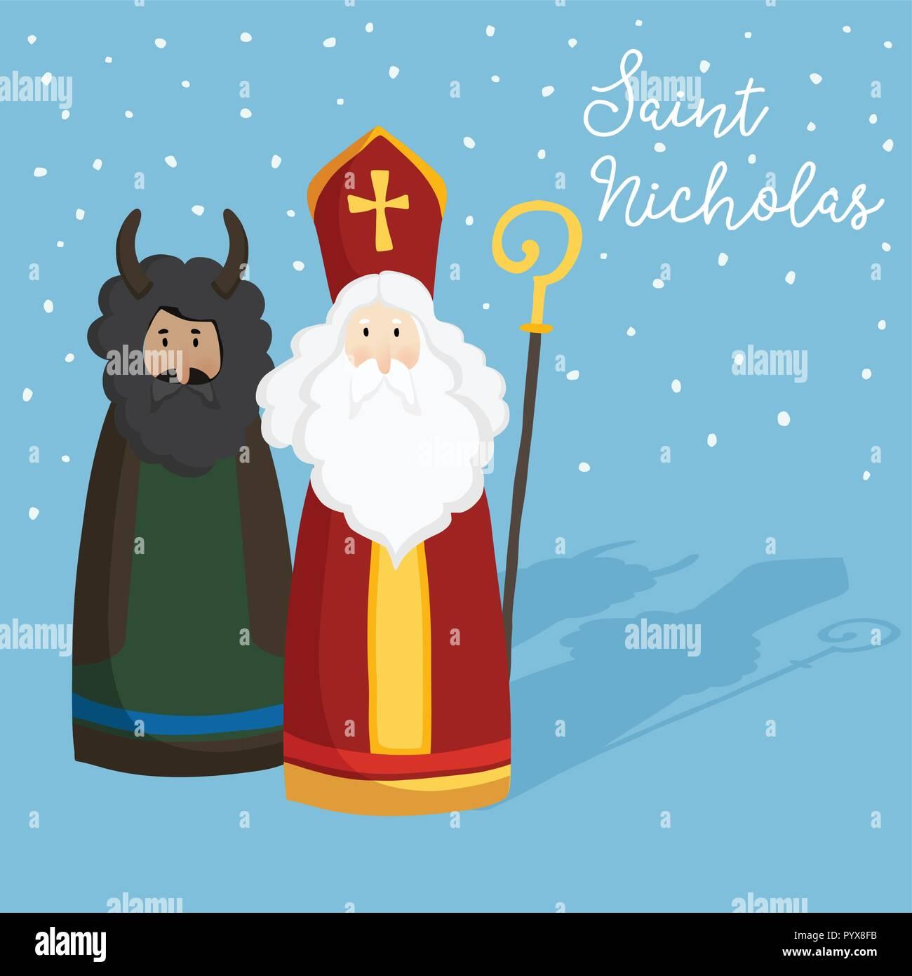 Lindo San Nicolás Con Diablo Texto Y La Caída De Nieve