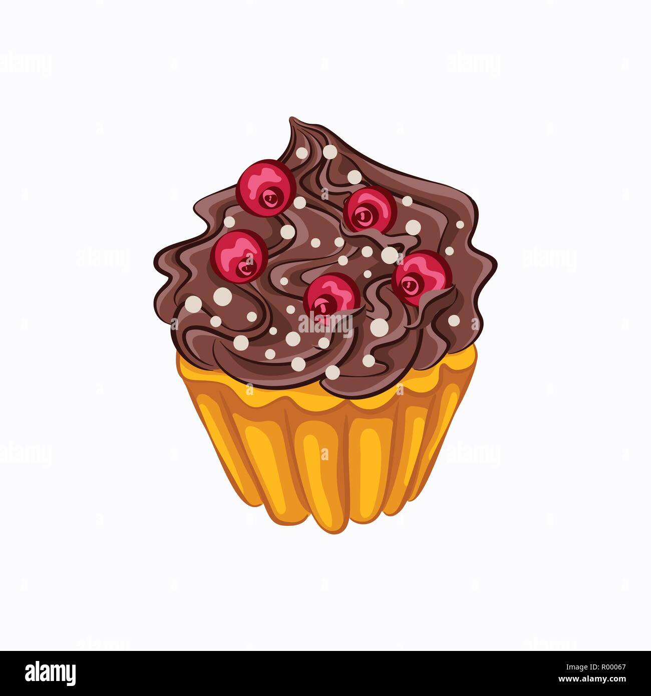 Estilo De Dibujos Animados Cupcake De Vainilla Con Crema De