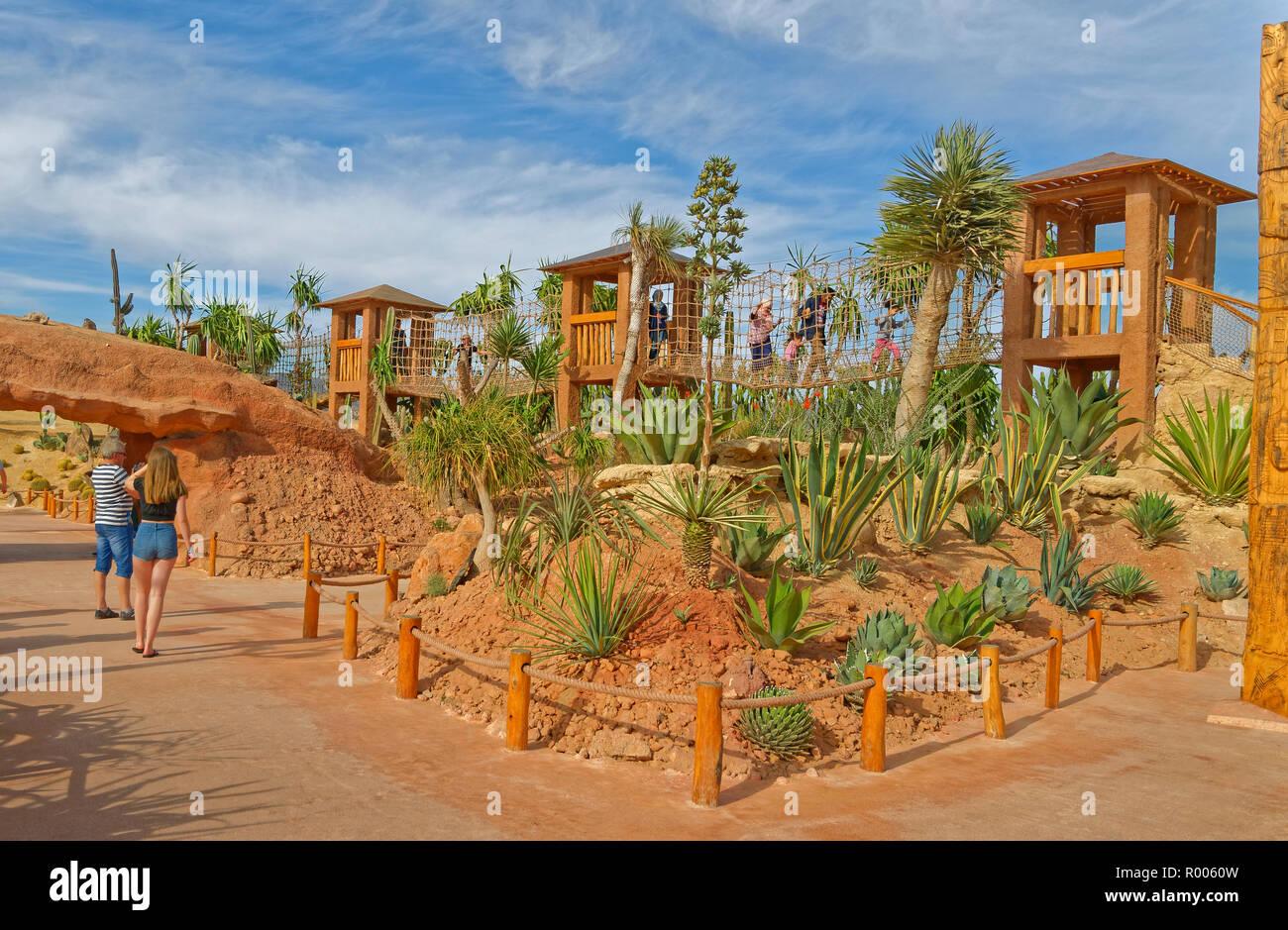 Jardín de Cactus en Croco Park, Agadir, provincia de Souss-Massa, en el sur de Marruecos, Norte de África Occidental. Imagen De Stock