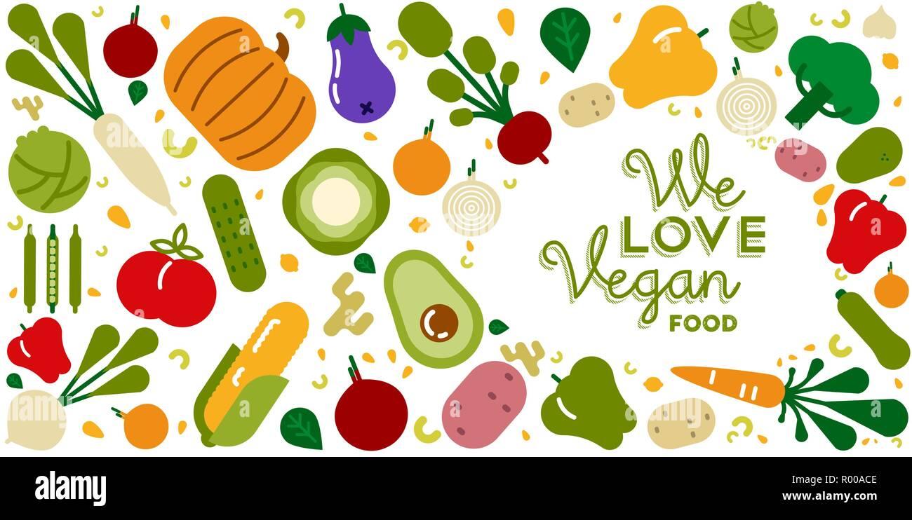 Tarjeta De Felicitación De Comida Vegana Ilustración Para Orgánicos