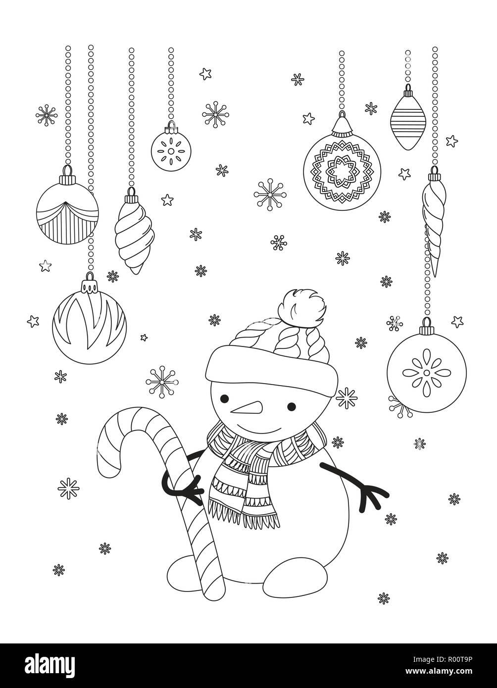 Página Para Colorear De Navidad Para Niños Y Adultos Lindo Muñeco