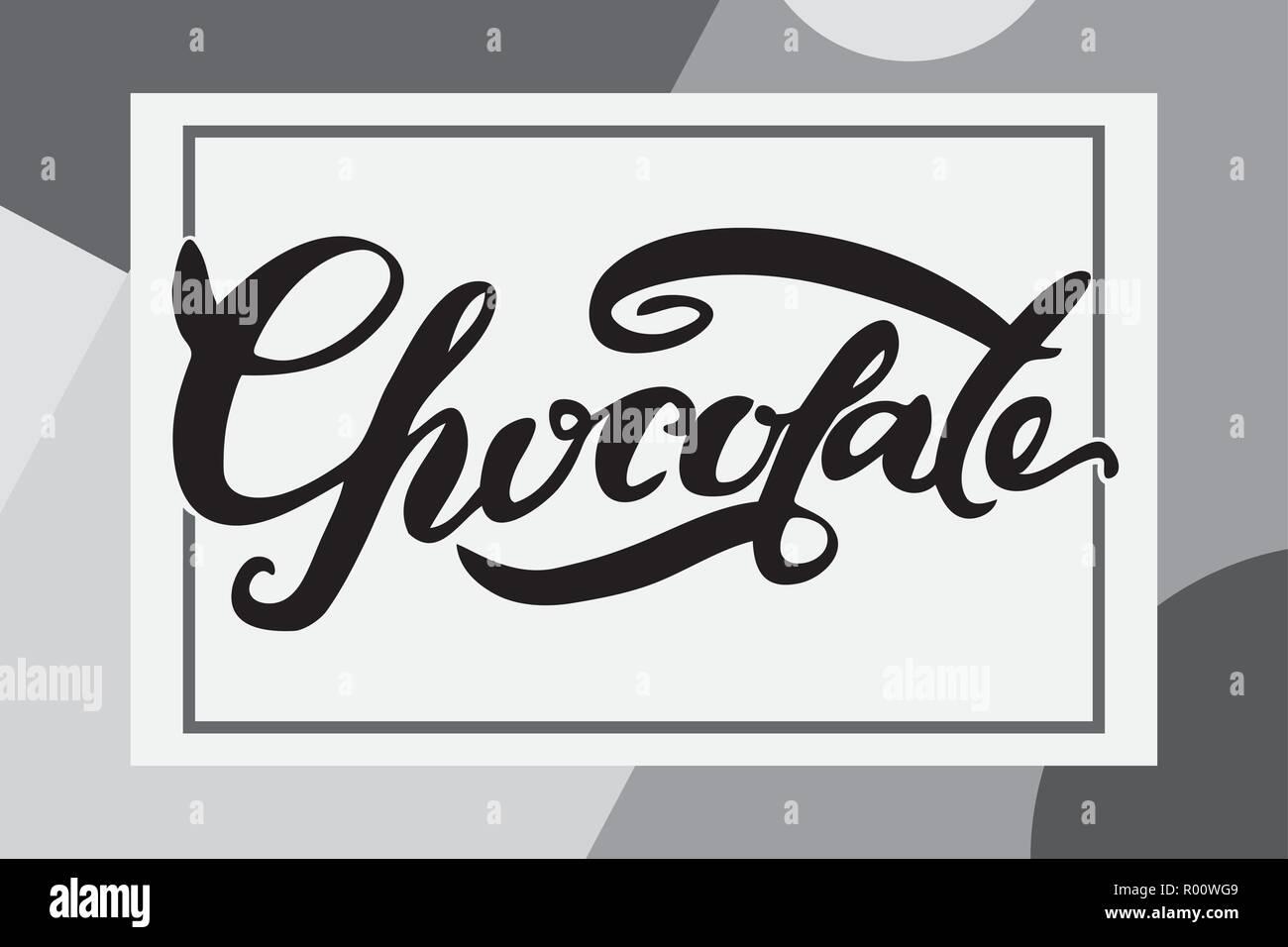 Chocolate Letras Dibujada A Mano Cepillo Perfecto Para