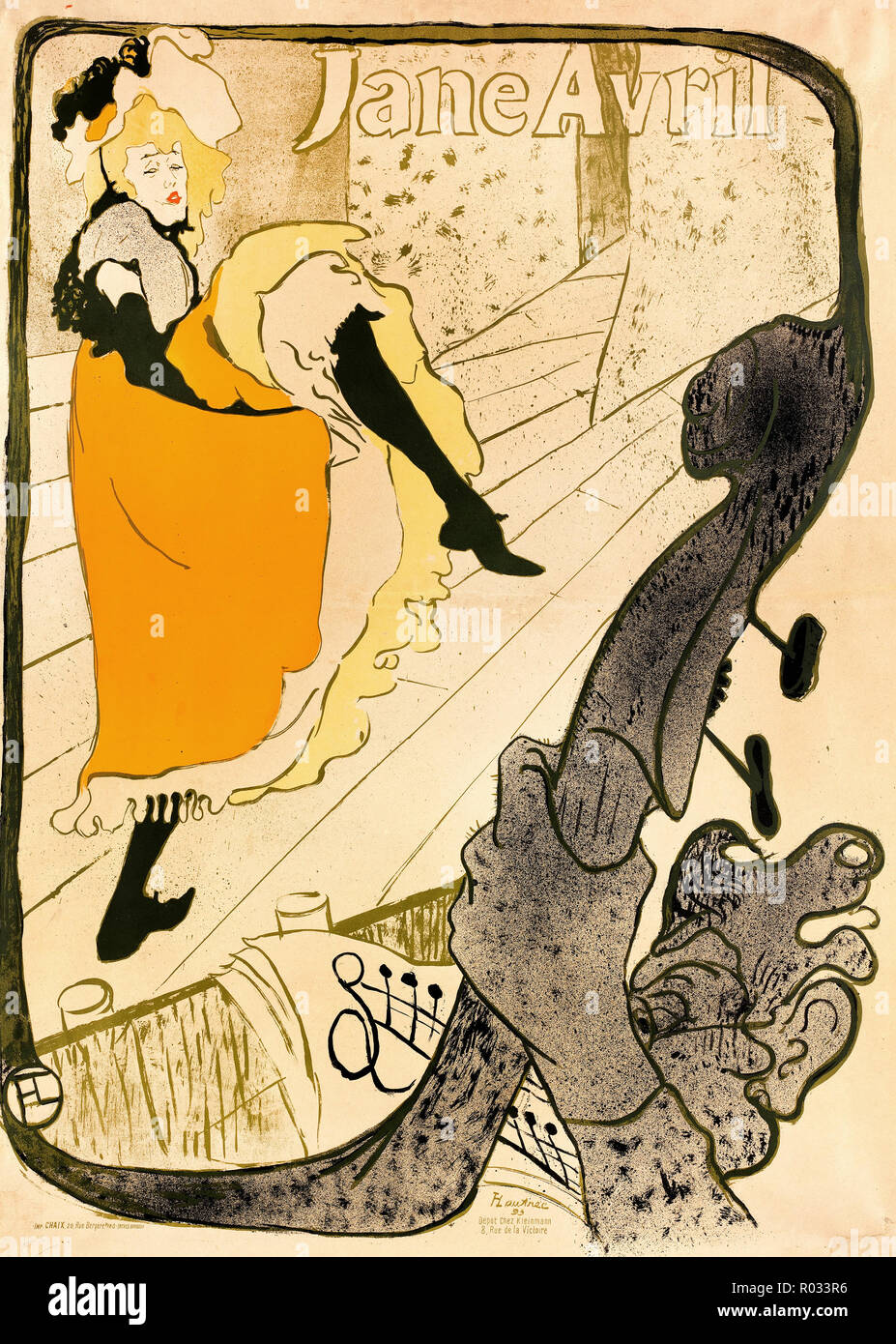Henri de Toulouse-Lautrec, Jane Avril 1893 litografía en color, el Museo de Bellas Artes de Boston, EE.UU.. Foto de stock