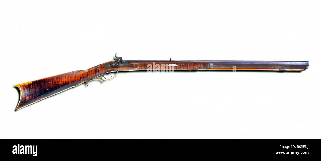 Percusion Antiguo Rifle De Montana Hace Alrededor 1840 50 S Con
