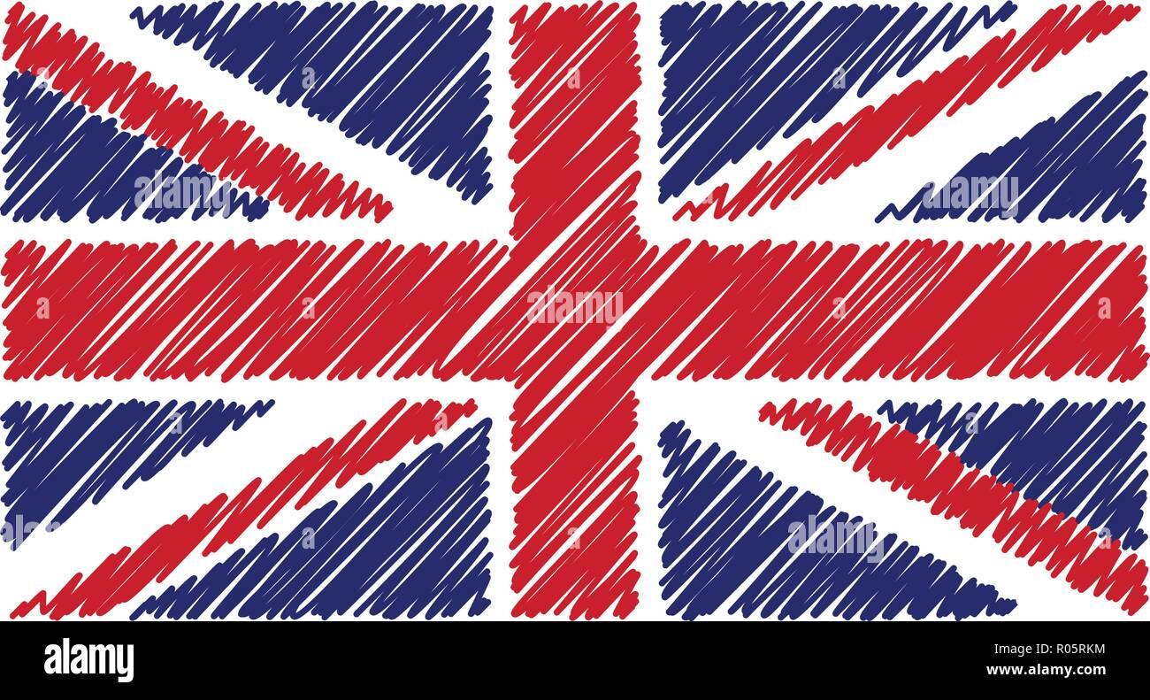 Dibujadas A Mano La Bandera Nacional Del Reino Unido Aislado Sobre