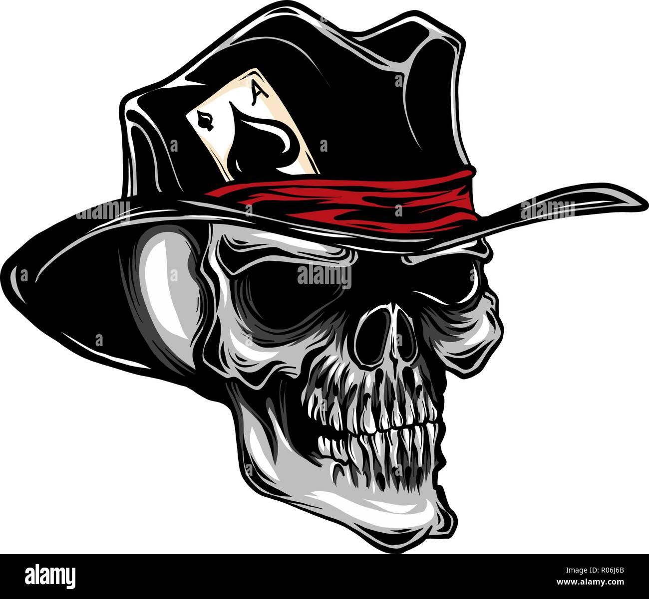 Vector calavera con sombrero de copa y un as de picas Ilustración ... 3025c545799