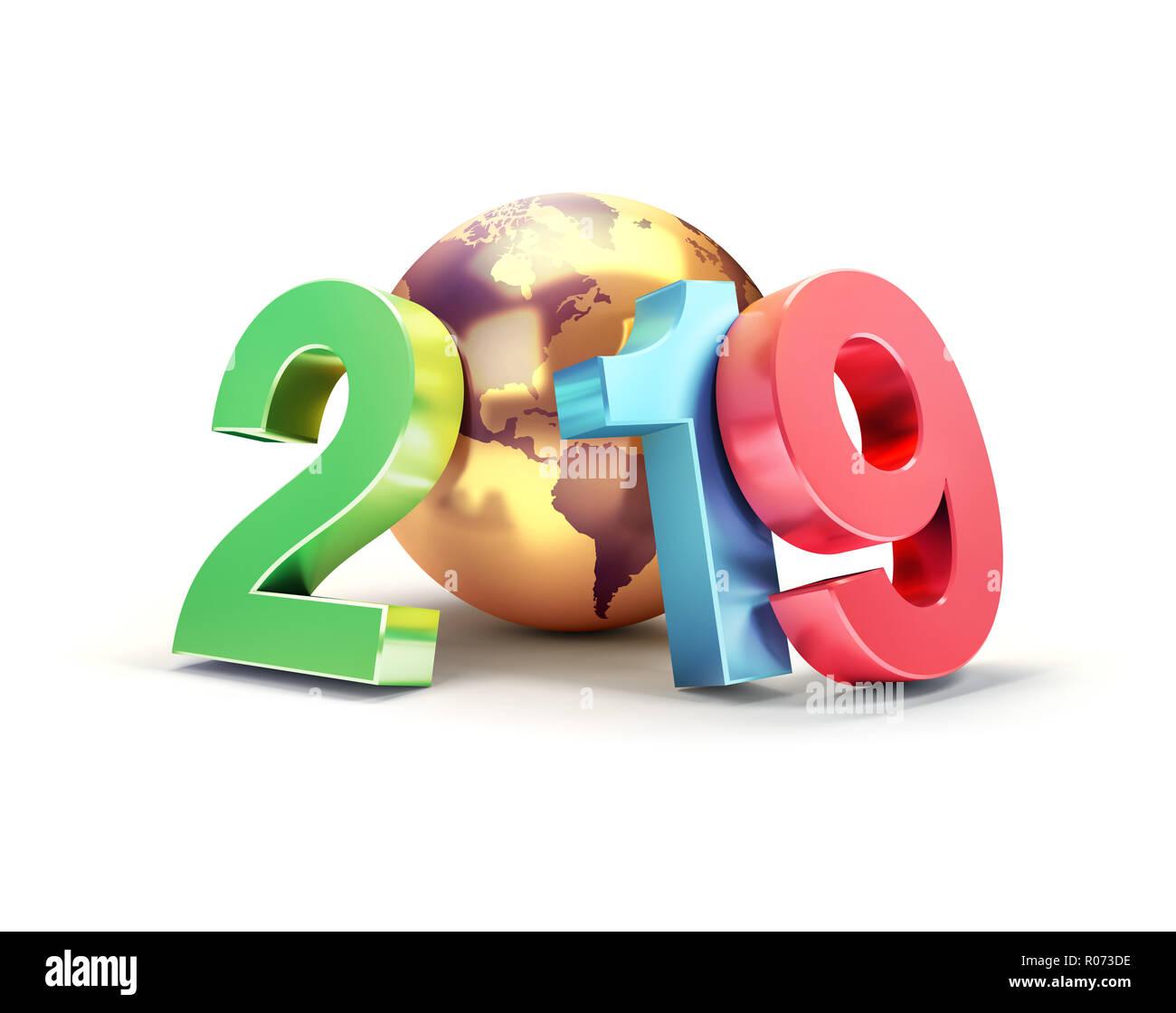 2019 Año Nuevo número fecha colorido compuesto con un planeta tierra de oro, centrado en los Estados Unidos, aislado en blanco - Ilustración 3D Foto de stock