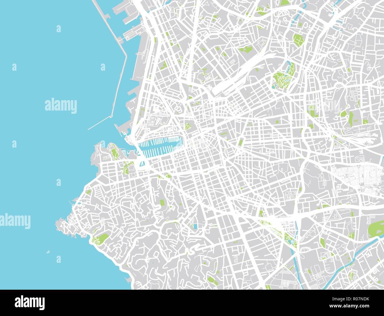 Vector Urbano Mapa De La Ciudad De Marsella Francia Ilustracion
