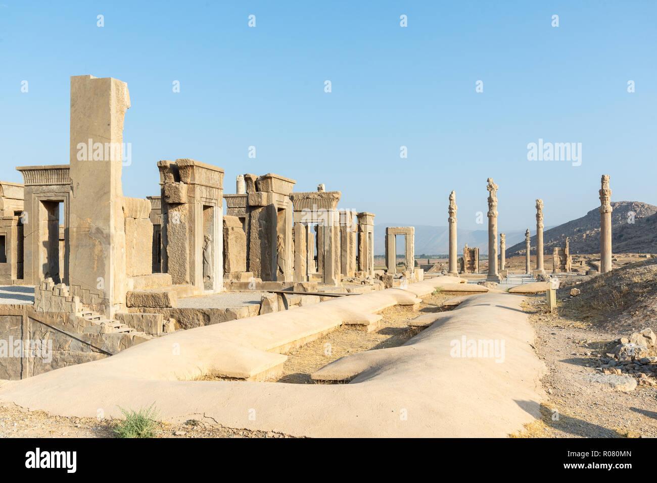 Las antiguas ruinas de Persépolis, Irán - uno de los sitios del patrimonio mundial de la UNESCO Foto de stock