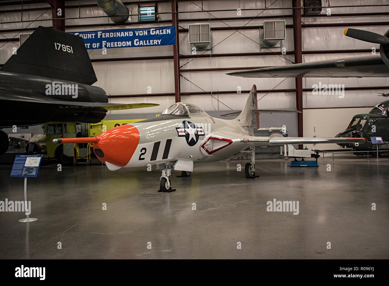 RF-9J Cougar, Pima Air & Space Museum. Tucson, Arizona. Ee.Uu. Foto de stock