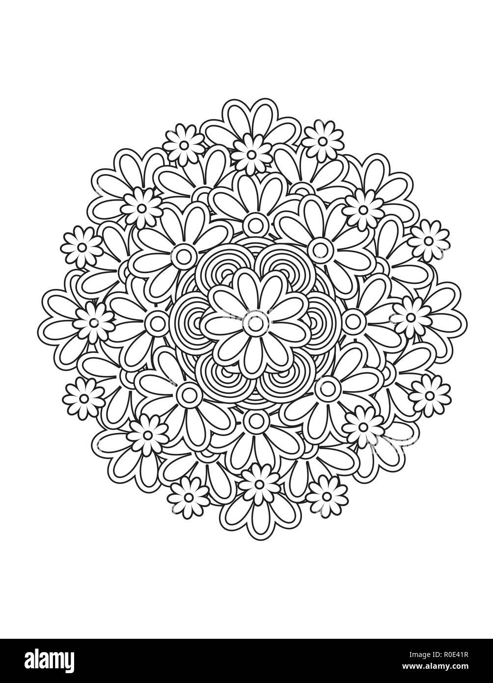 Mandala Patrón Floral En Blanco Y Negro Libro Para Colorear De