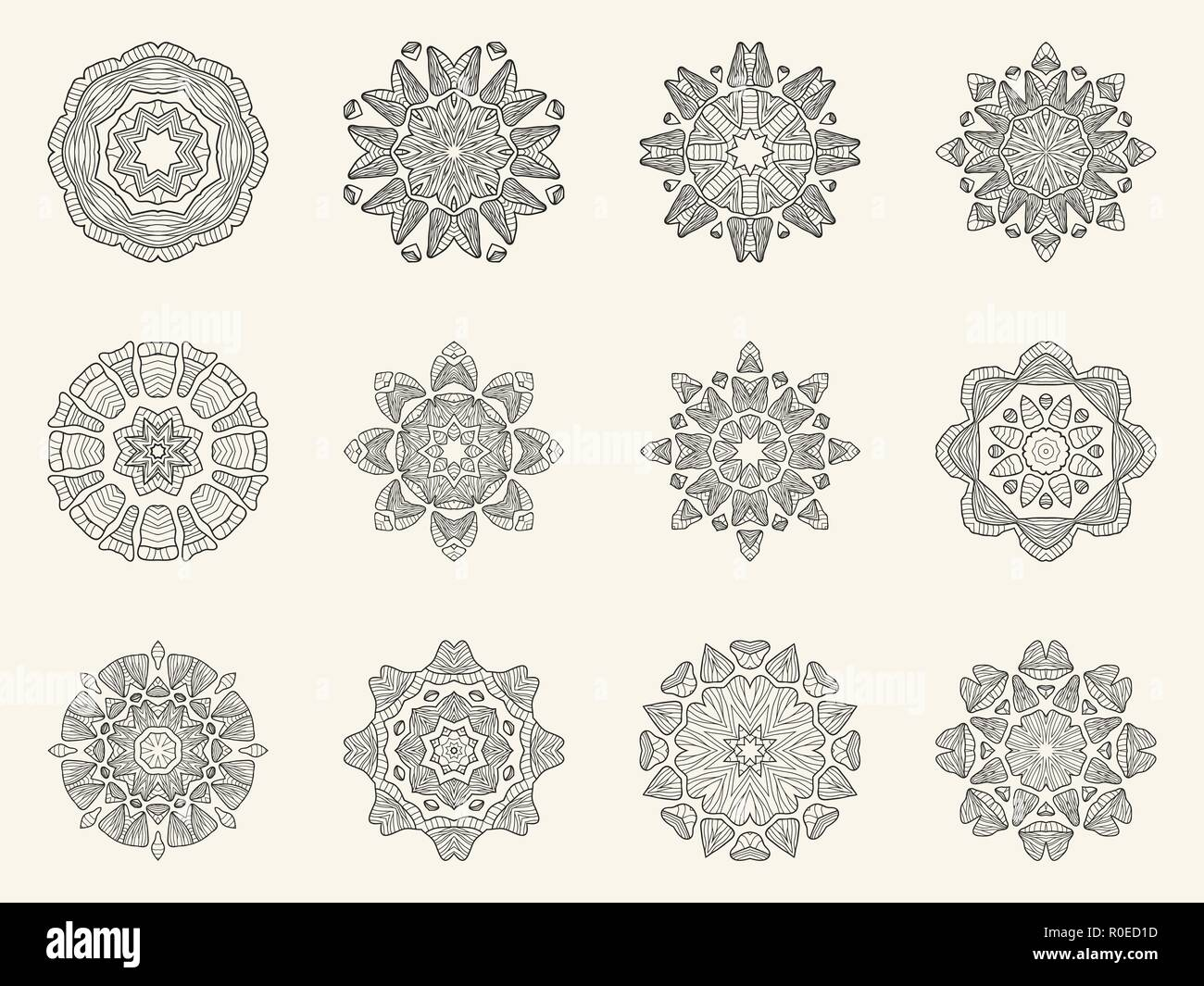Set Circular Patterns Vector Illustration Imágenes De Stock & Set ...