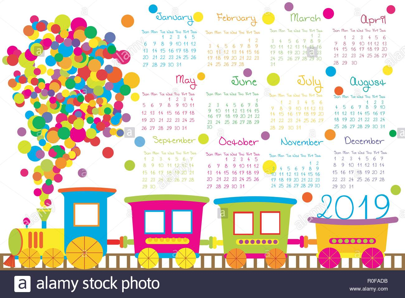 Calendario Dibujo 2019.2019 Calendario Con Tren De Dibujos Animados Para Ninos