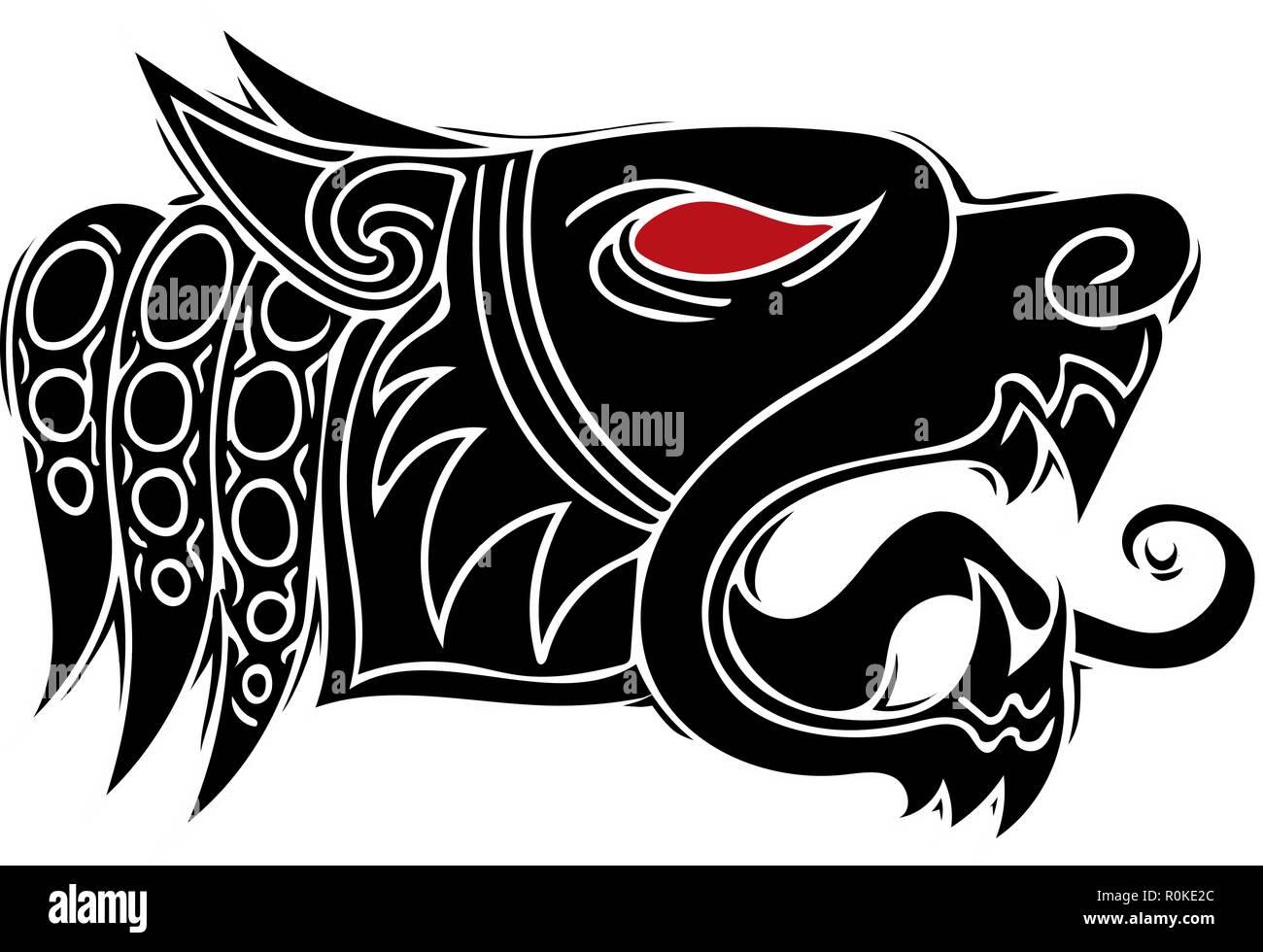 La Cabeza Del Lobo Aullido Diseño De Tatuaje Tribal Vector
