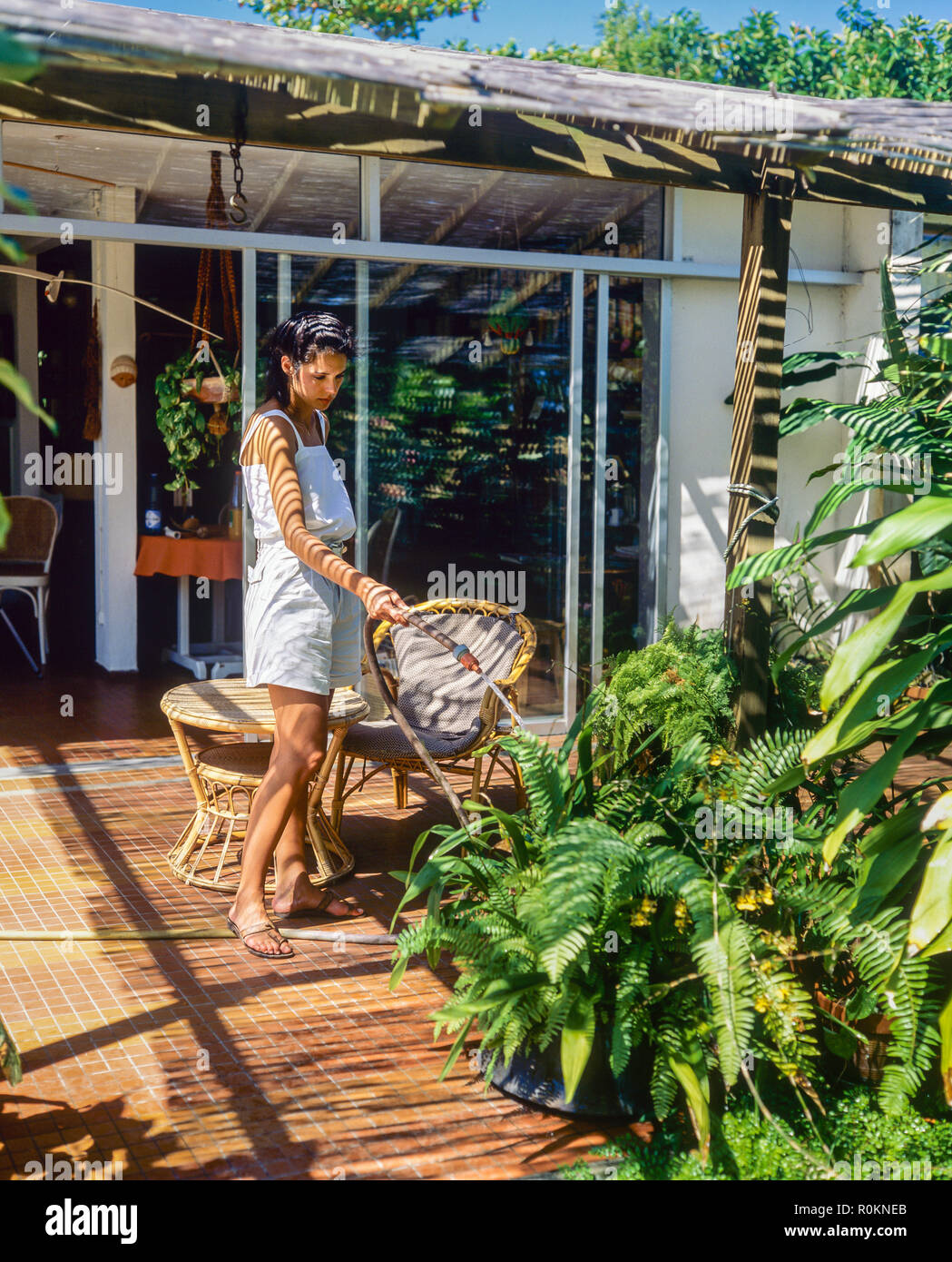 Joven Regar Las Plantas Casa Terraza Jardín Tropical