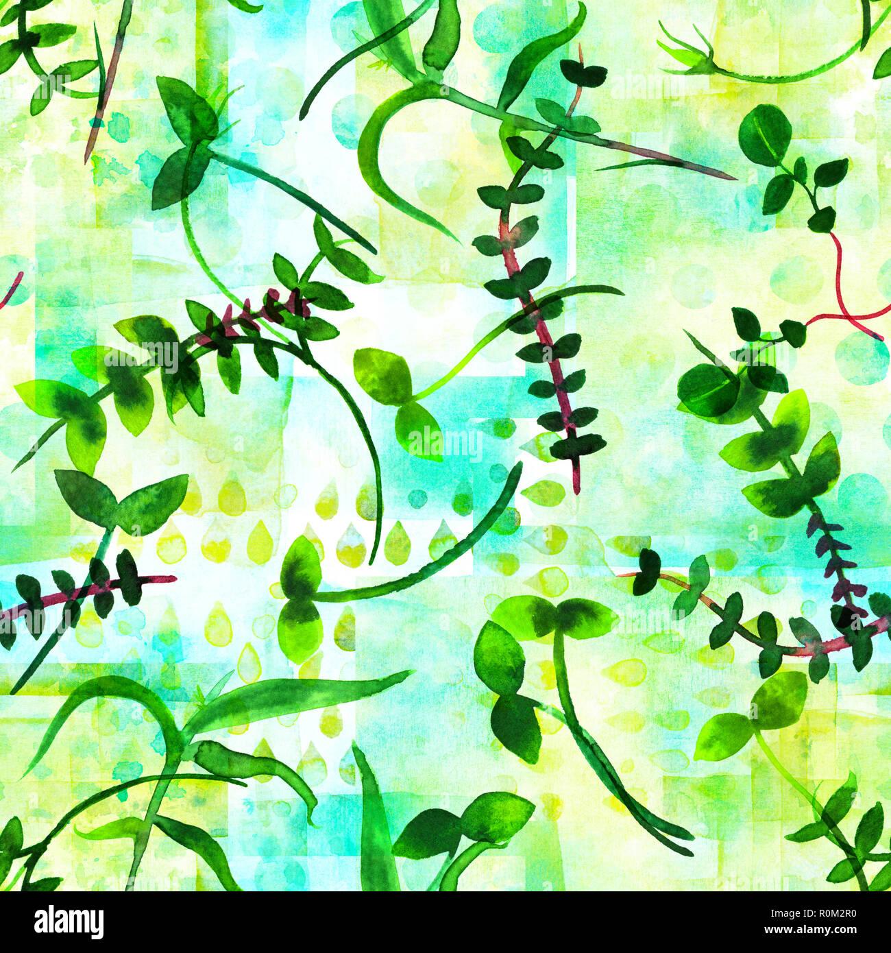Un patrón sin fisuras teal verde con ramas y hojas de acuarela, una impresión de repetición en una colcha de fondo Foto de stock