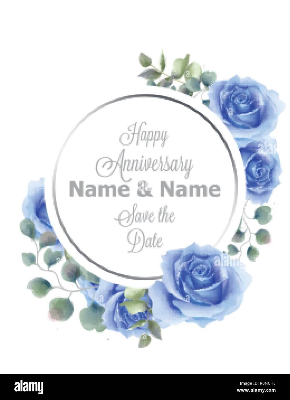 Rosas Azules Flores Acuarela Bastidor Redondo Card Vector Vintage