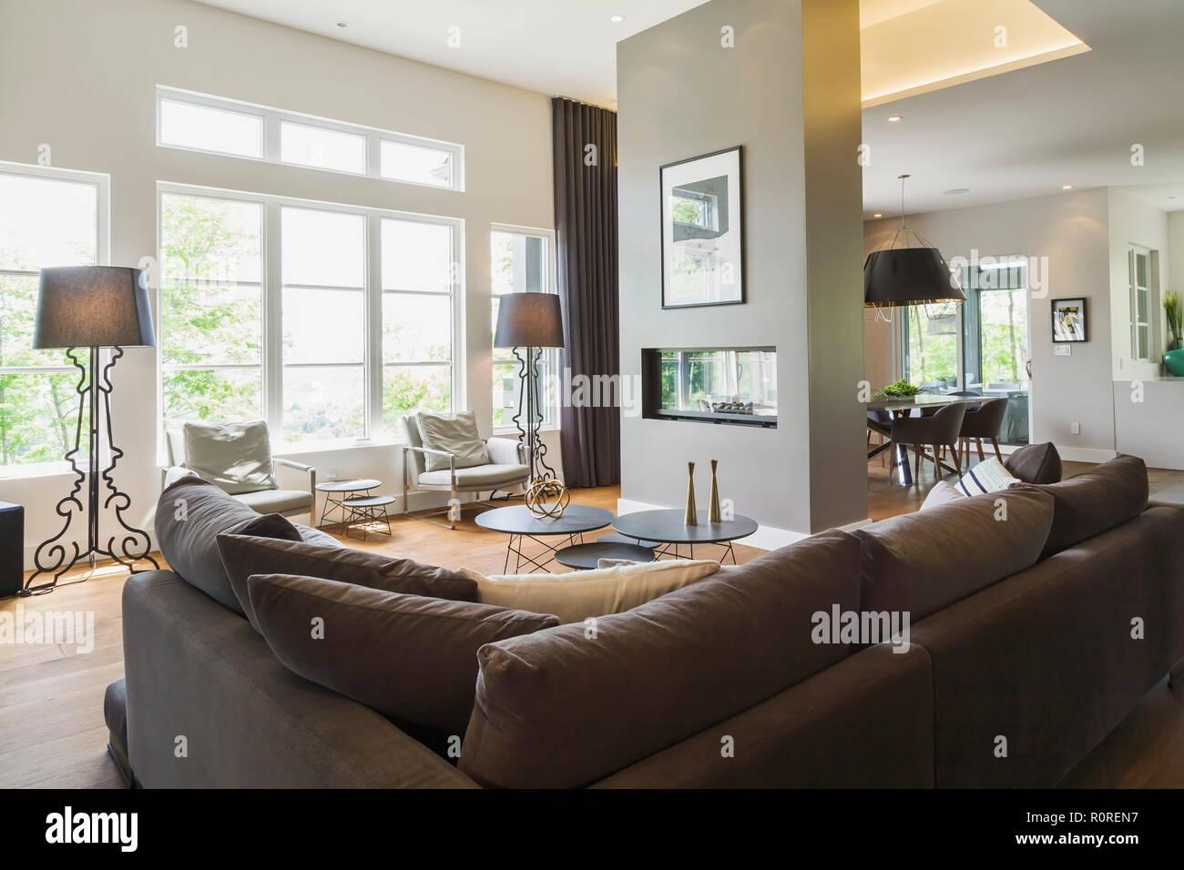 Salón dentro de una lujosa casa contemporánea, Canadá Imagen De Stock