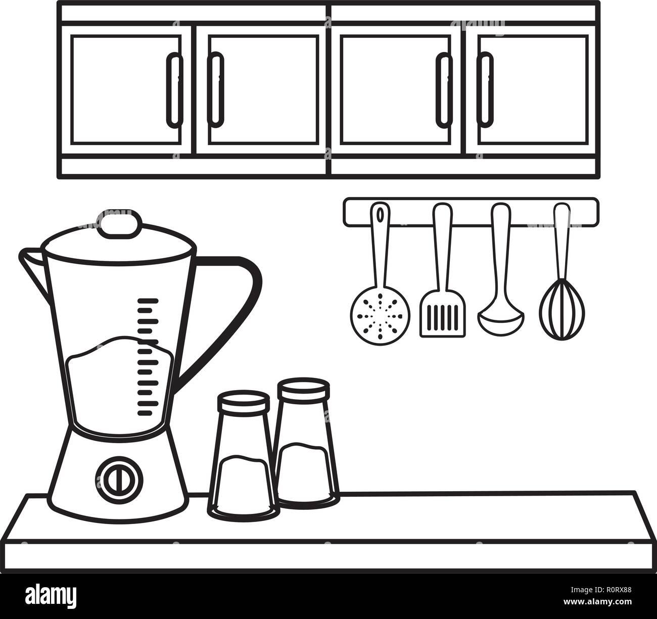 Cute Dibujos Animados Utensilios De Cocina En Blanco Y Negro