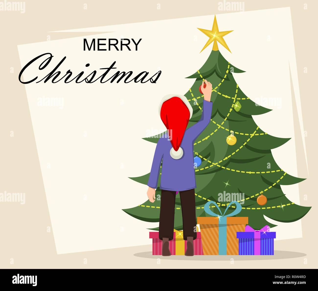 Feliz Navidad Tarjeta De Felicitación Con El Kid Decorar