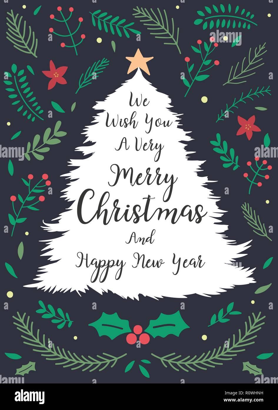 Saludo De Navidad Y Año Nuevo O Tarjeta De Invitación