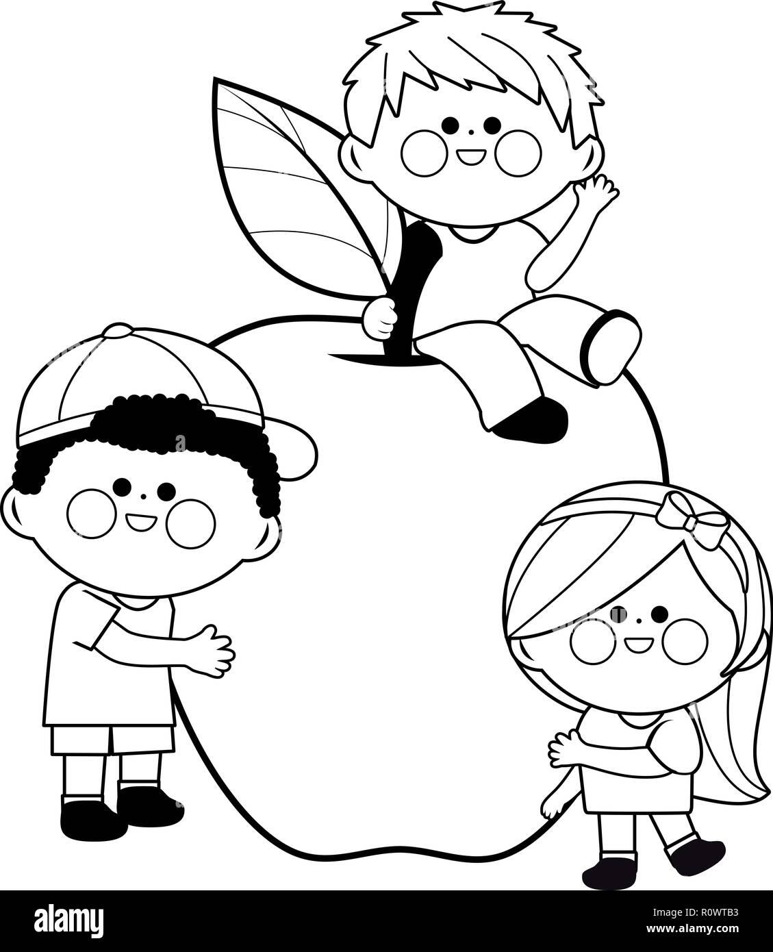 Los Niños Y Apple Libro Para Colorear De Blanco Y Negro Página