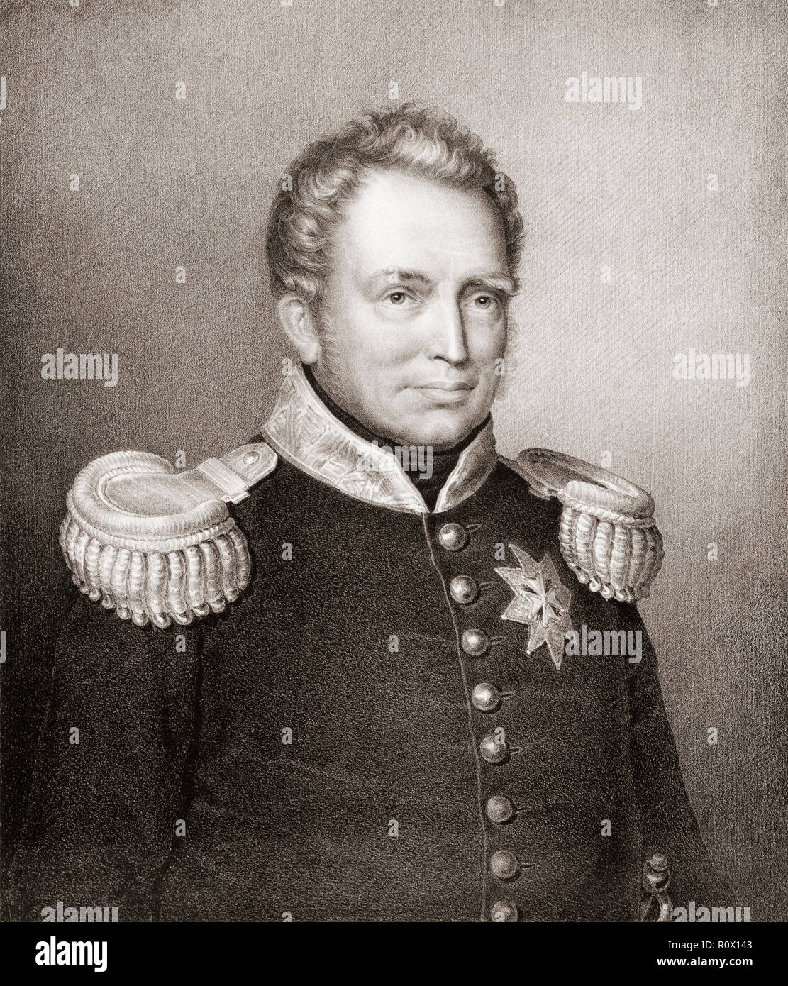 El rey Guillermo I de los Países Bajos, 1772-1843. Después de la pintura de Jan Baptist van der Hulst. Imagen De Stock
