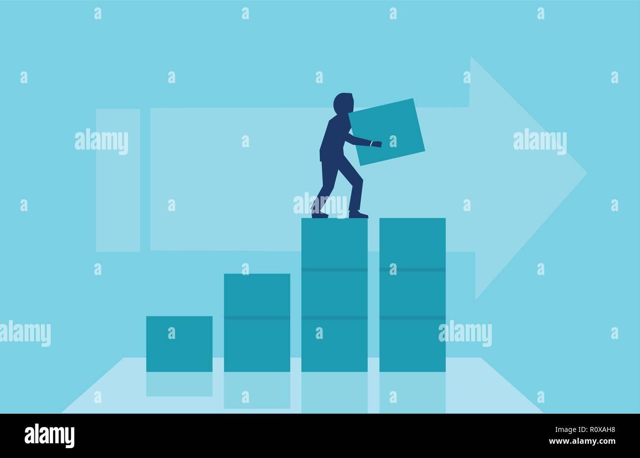 Concepto de crecimiento empresarial, el éxito. Vector de un empresario construyendo pasos para su carrera corporativa. Imagen De Stock