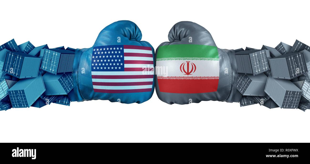 Irán Estados Unidos o EE.UU. sanciones económicas en conflicto con dos socios comerciales opuestos como importaciones y exportaciones controversia concepto. Imagen De Stock