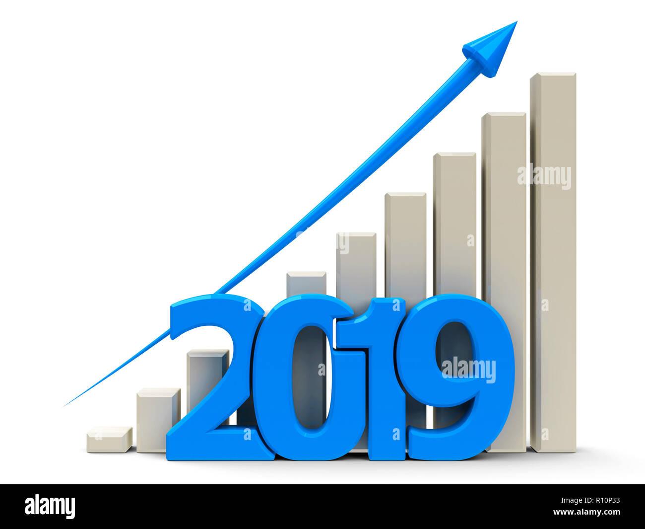 Gráfico de negocios azul con la flecha azul hacia arriba, representa un crecimiento en el año 2019, representación tridimensional, ilustración 3D Imagen De Stock