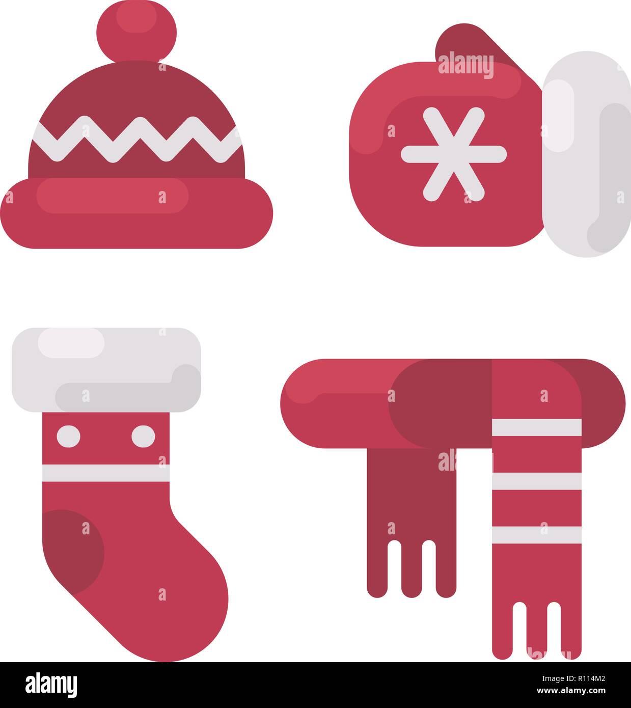 fc9725c0a Conjunto de ropa de invierno ilustración plana. Hat, mitten, almacenamiento  y bufanda. Navidad iconos planas
