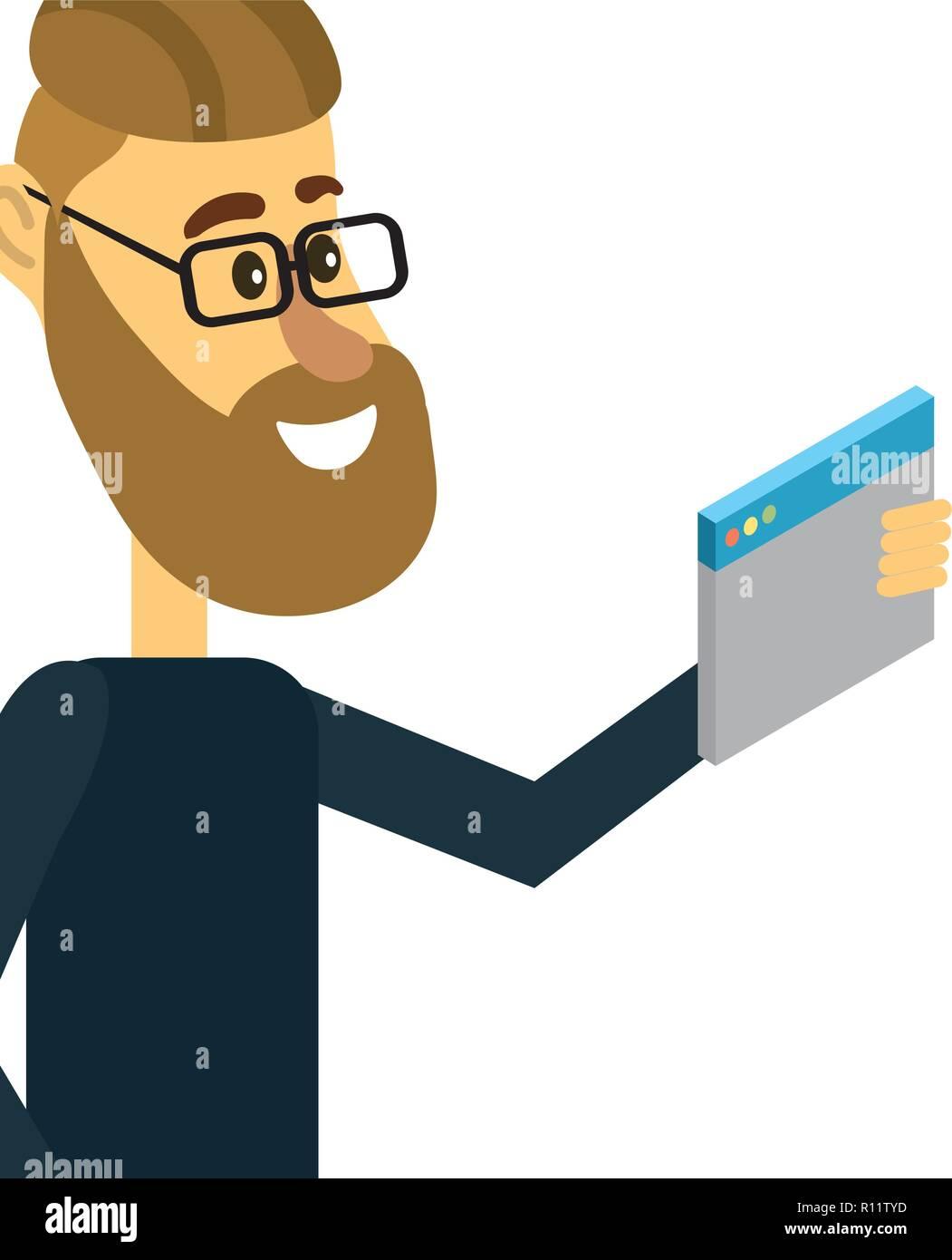 El hombre y el software Imagen De Stock