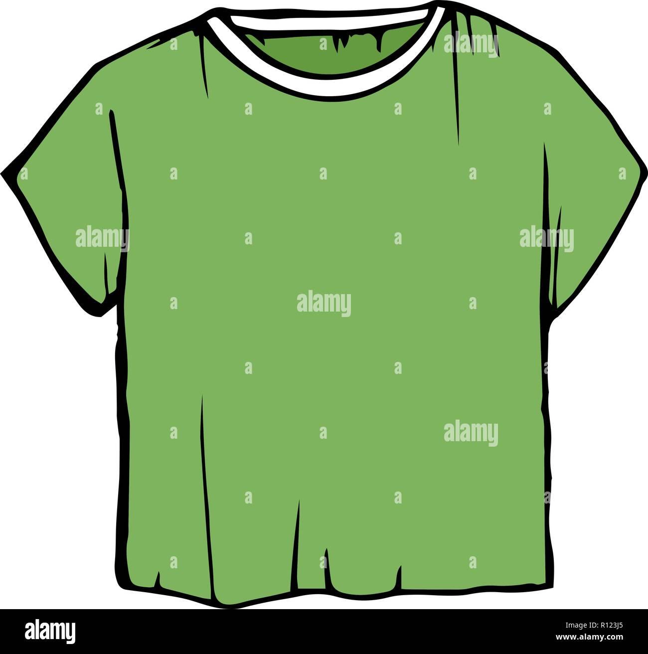 0e2a3db7c9 Boceto verde camisetas. t-shirt ilustración vectorial. los niños del  esquema de ropa