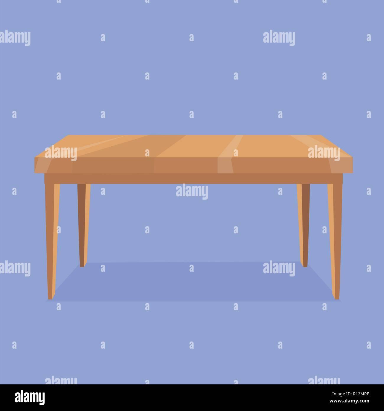 Ilustración vectorial de mesa rectangular de madera sobre fondo violeta con sombra gris. Objeto aislado para la creación de escenas de interiores. Cartoon Ilustración del Vector