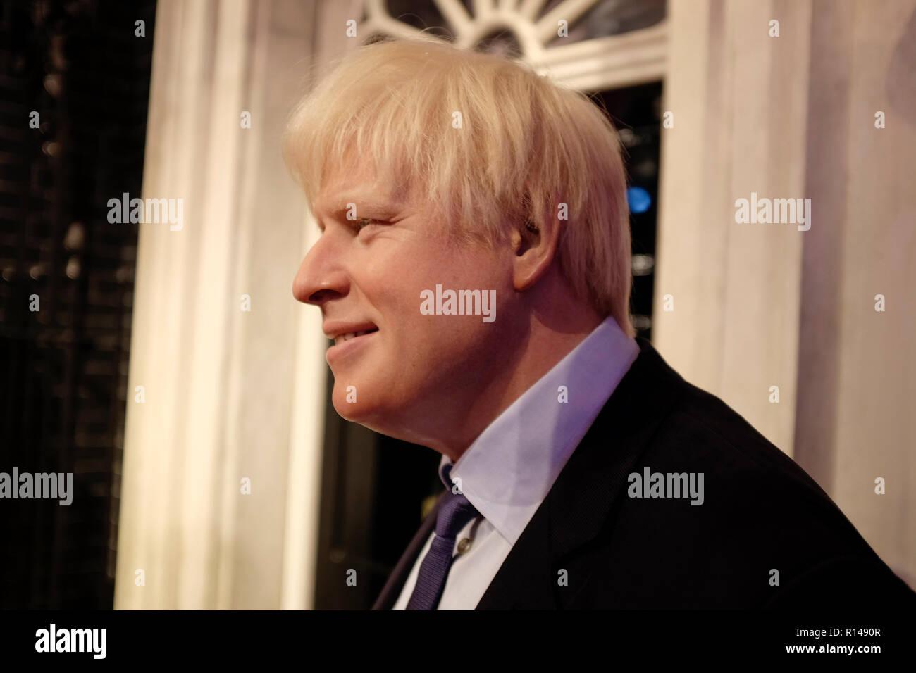 Figura de cera de Boris Johnson en atracción turística mundialmente famoso museo de cera Madame Tussauds en Londres, Reino Unido. Imagen De Stock