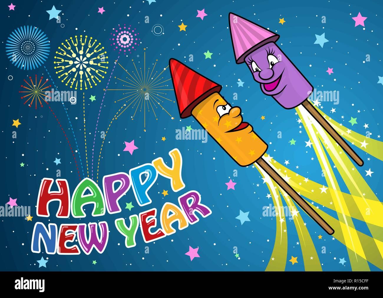 Feliz Ano Nuevo Fondo Con Cohetes De Fuegos Artificiales De Dibujos