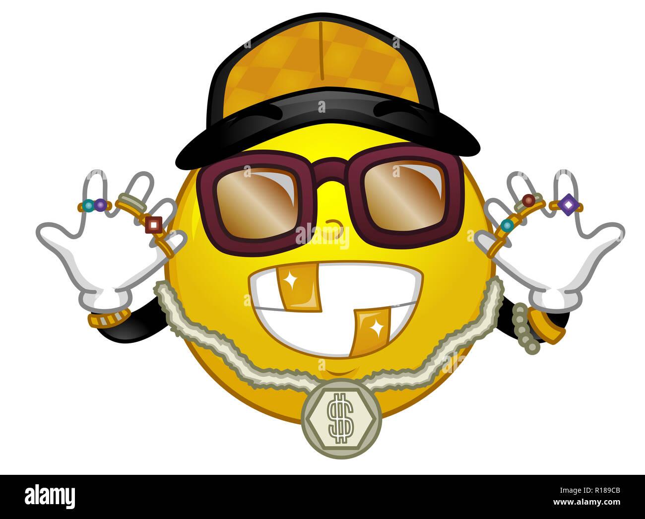 Ilustración de una mascota Smiley vistiendo Collar de Oro 33bf70dc65d