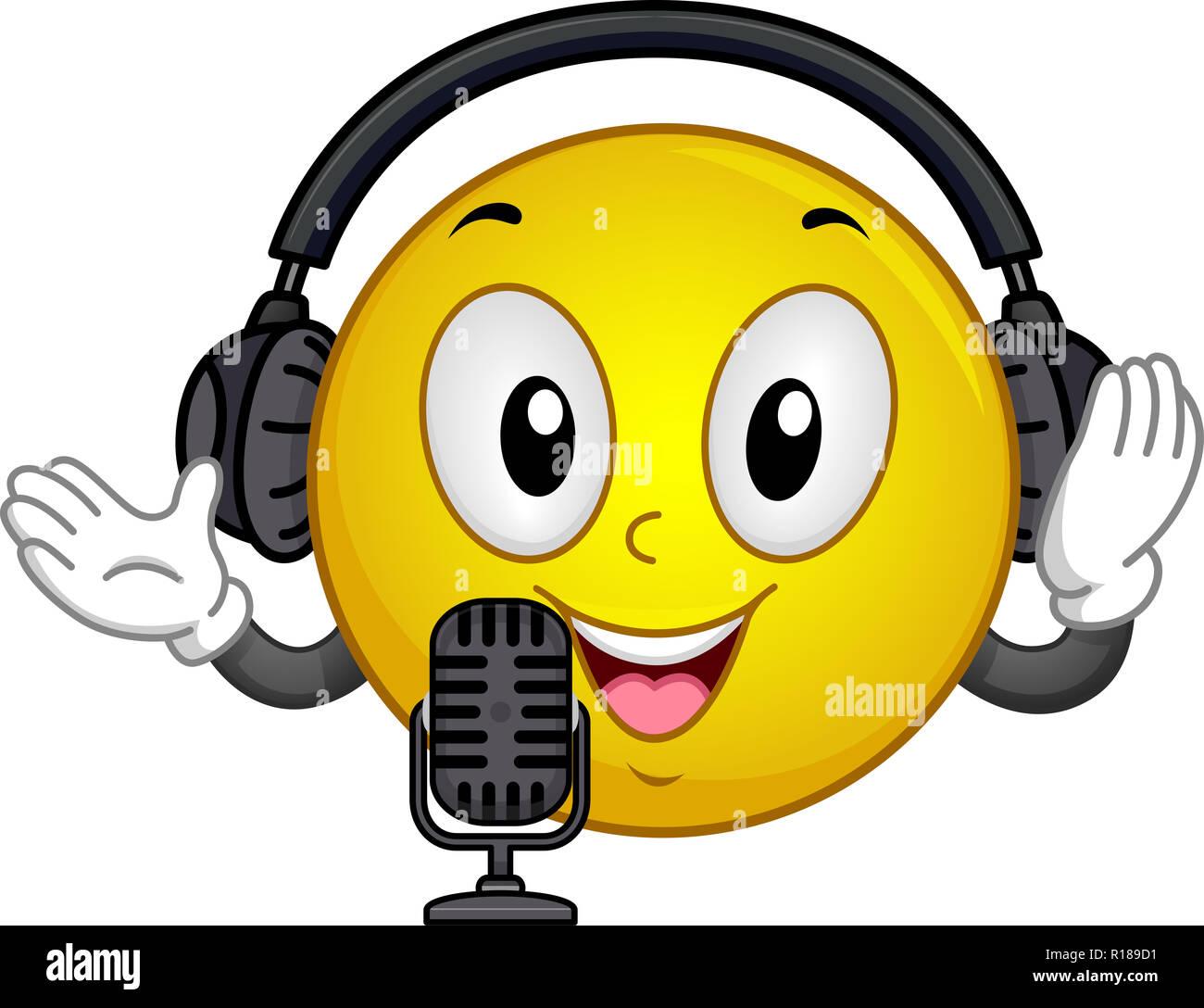 Ilustración de una mascota Smiley vistiendo un auricular y micrófono para  Podcasting Imagen De Stock 101cba9bc1d