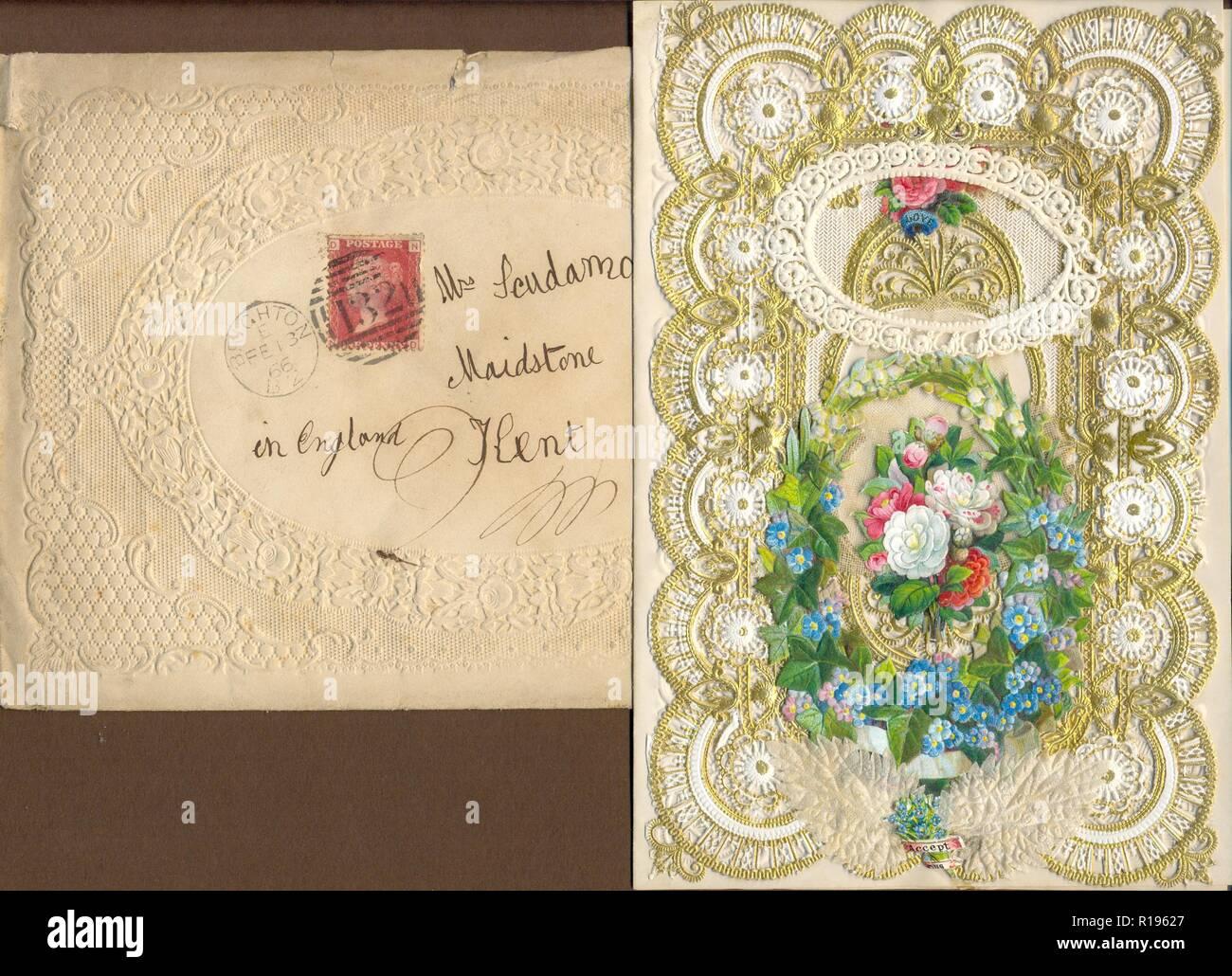 Elaborar capas Valentine Victoriana con envoltura original 1866 Foto de stock