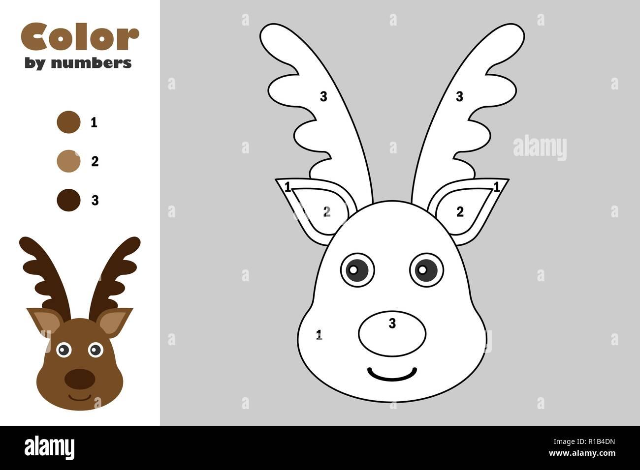 Venado En El Estilo De Dibujos Animados Color Por Número Navidad