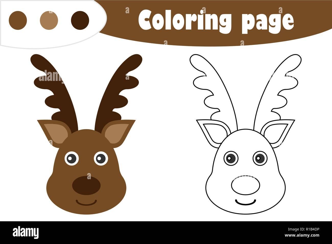Venado En El Estilo De Dibujos Animados Navidad Página Para