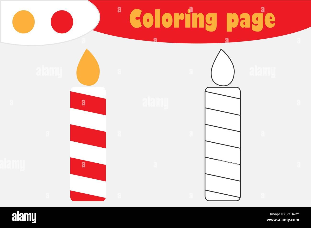 Vela En Estilo De Dibujos Animados Navidad Pagina Para Colorear El