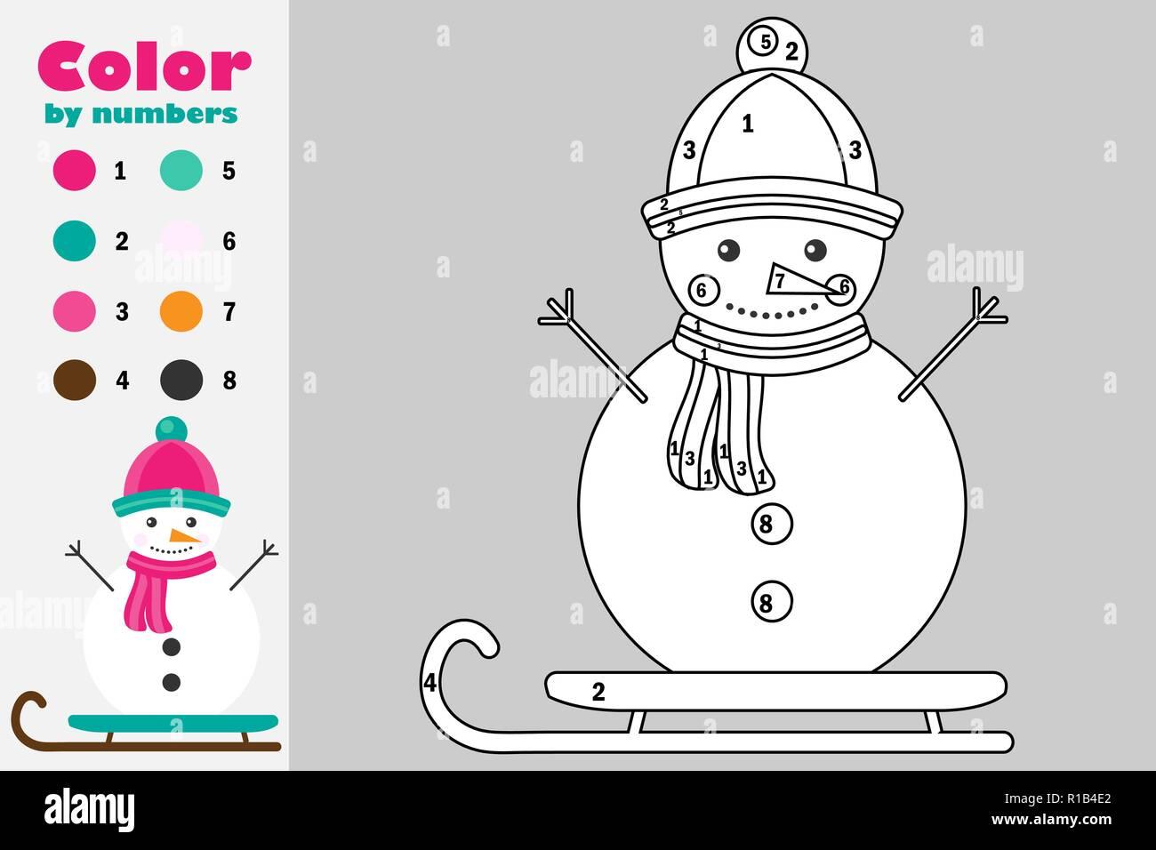 Muñeco De Nieve En El Estilo De Dibujos Animados Color Por Número