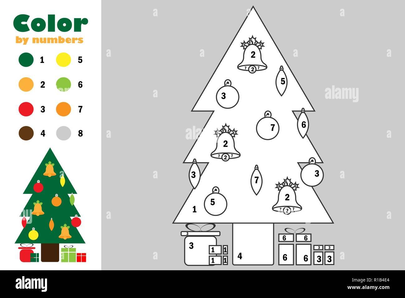 árbol De Navidad En El Estilo De Dibujos Animados Color Por