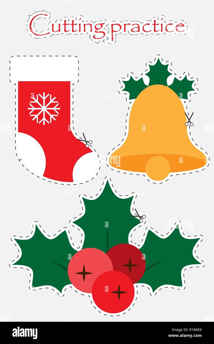 Bota De Navidad Bell Y El Muérdago En El Estilo De Dibujos Animados