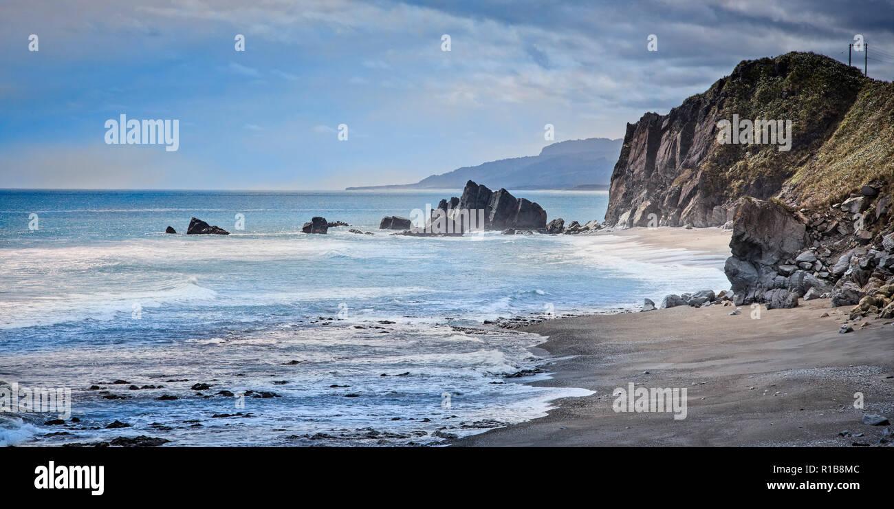 La accidentada región de la Costa Oeste de la Isla del Sur, Nueva Zelanda. Foto de stock