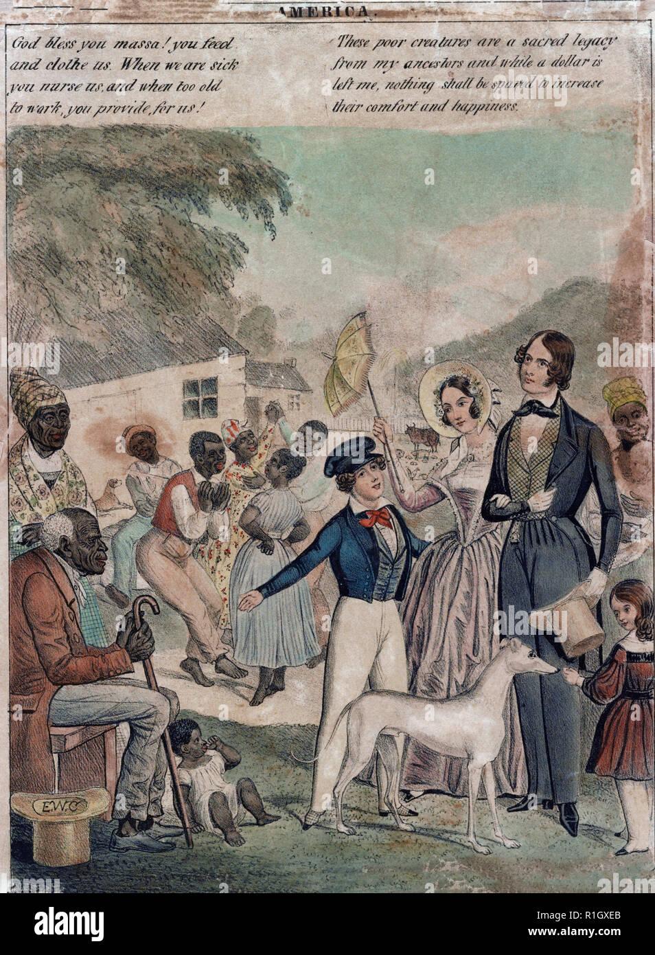 """América, 1841 - Impresión muestra una representación idealizada de la esclavitud americana y las condiciones de los negros bajo este sistema en 1841. La biblioteca en la impresión de la impresión es un fragmento--el panel izquierdo solamente-- de una mayor impresión en blanco y negro titulada """"La esclavitud"""", lo que contrasta con la situación de que Gran Bretaña abusado """"Esclavas blancas"""" (en realidad, obreros de fábrica, que aparecen en el panel de la derecha) y America's 'contento' de los esclavos negros. Weitenkampf sugiere con razón que se imprime como estos fueron publicados por el norte apologistas de la esclavitud. La labor de uno de esos apologista, E. W. arcilla, muestra una constante falta de simpatía Imagen De Stock"""